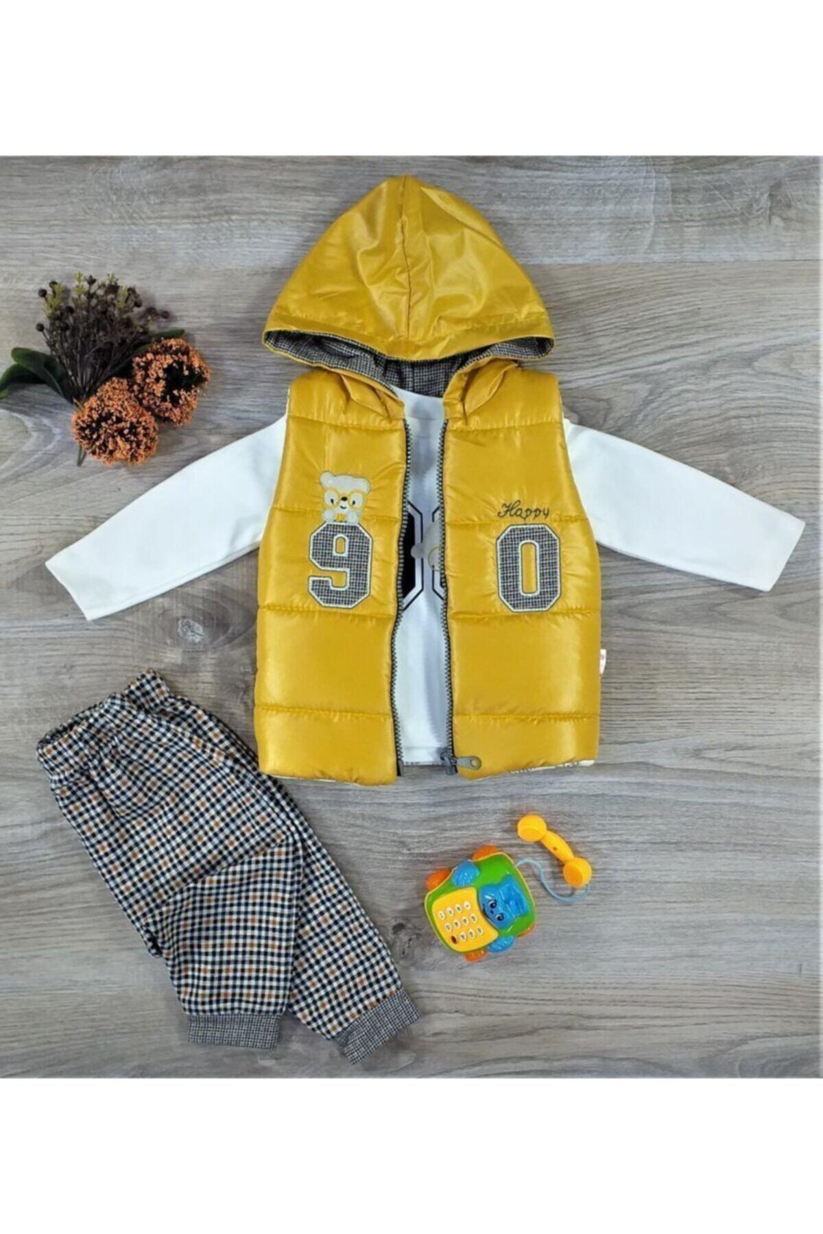 Hippıl Baby Erkek Bebek Çocuk Alt Üst Yelek 3 Parça Takım 6-12-18 Ay 2