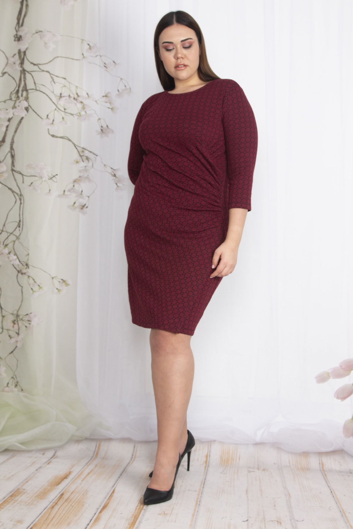 Şans Kadın Bordo Bel Detaylı Elbise 65N22426 1