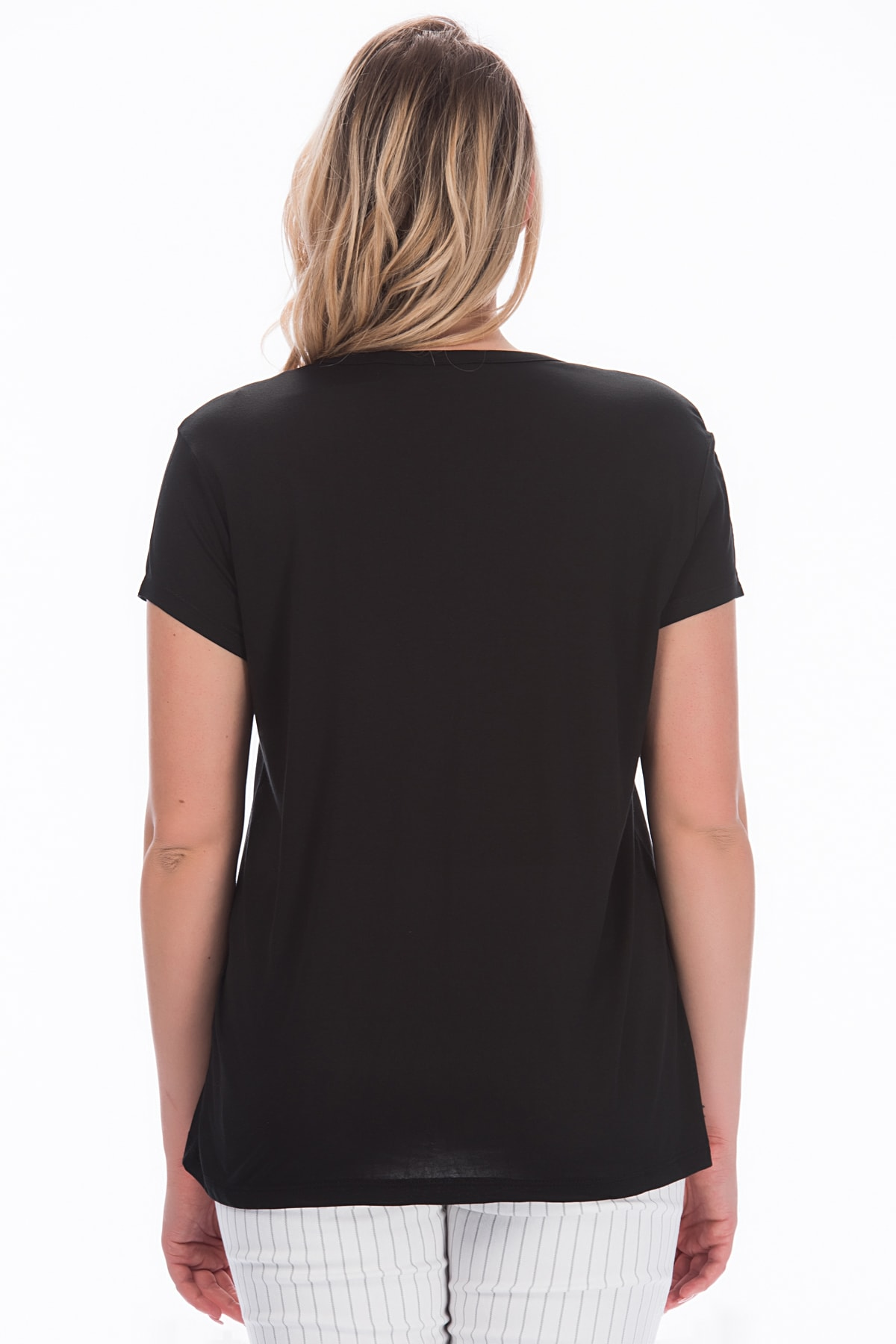 Şans Kadın Siyah V Yakalı Viskon Bluz 65N22538 2