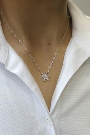 Marjin Kadın Zirkon Taşlı Kartanesi Figürlü Gümüş Renkli Kolyegümüş