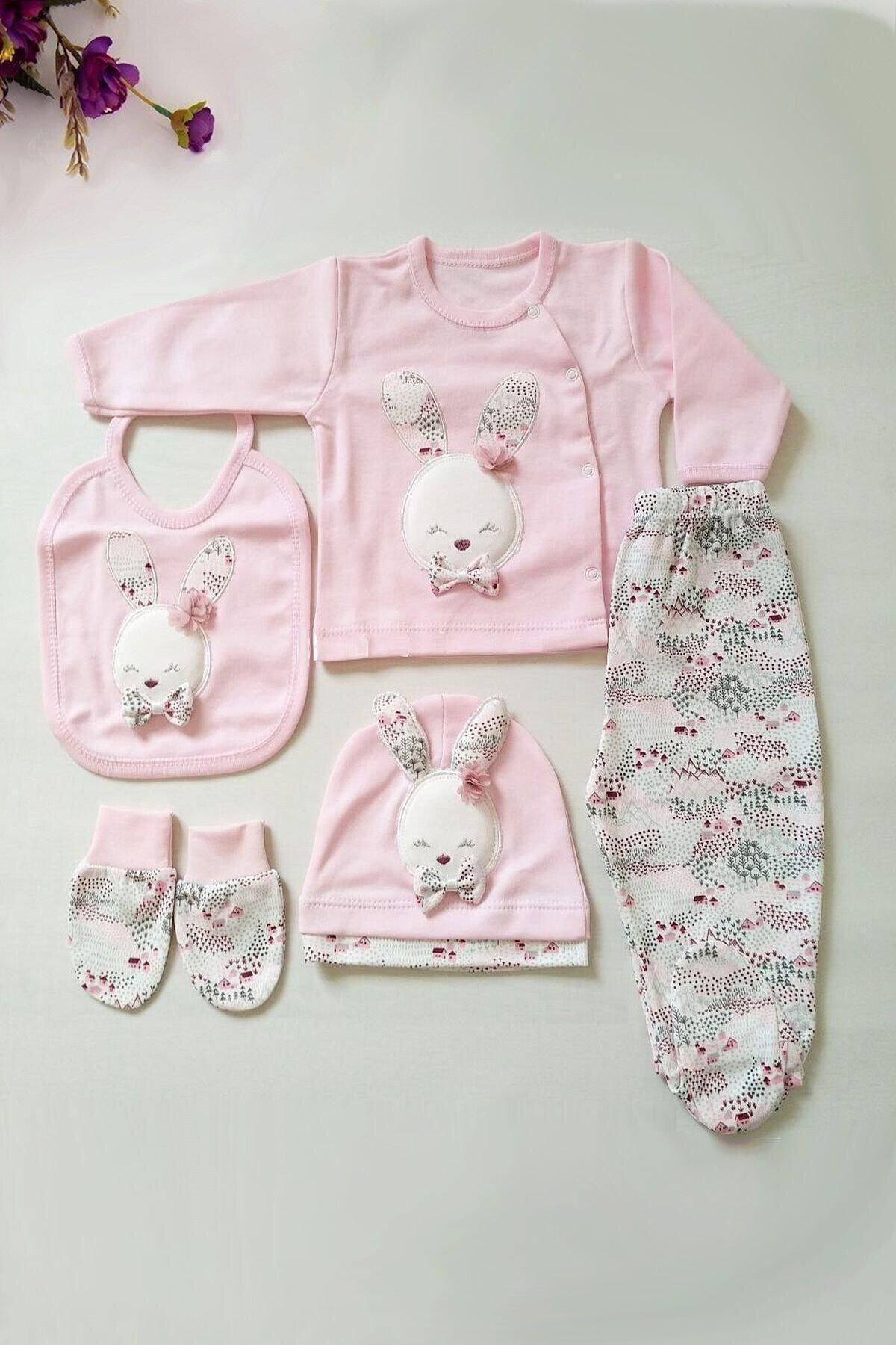 Gaye Bebe Kız Bebek Pembe Pamuklu Tavşan Desenli Hastane Çıkışı 5li 1