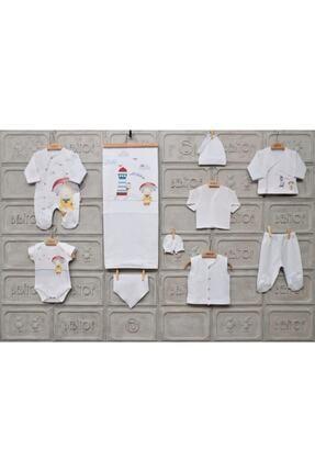 Bebitof Erkek Bebek Beyaz Şemsiyeli 10 Parça Zıbın Seti