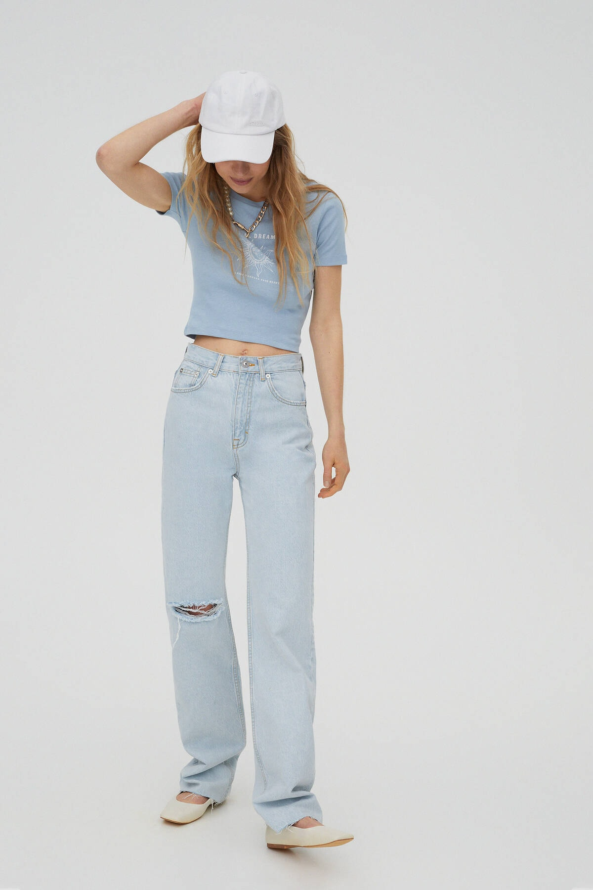 Pull & Bear Kadın  Mavi Gri Grafik Baskılı Fitilli T-Shirt 09247324 2
