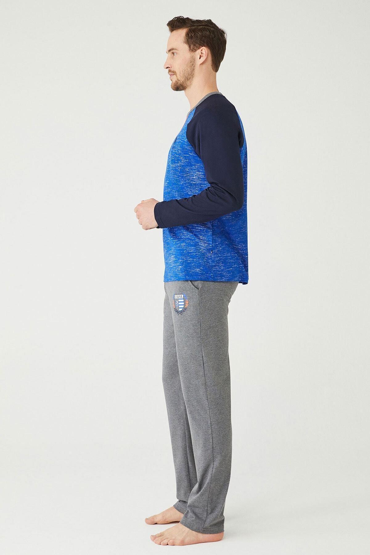 U.S POLO Erkek Sax Yuvarlak Yaka Pijama Takım 2