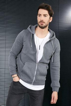 Sateen Men Erkek Antrasit Kanguru Cep Fermuarlı Sweatshirt
