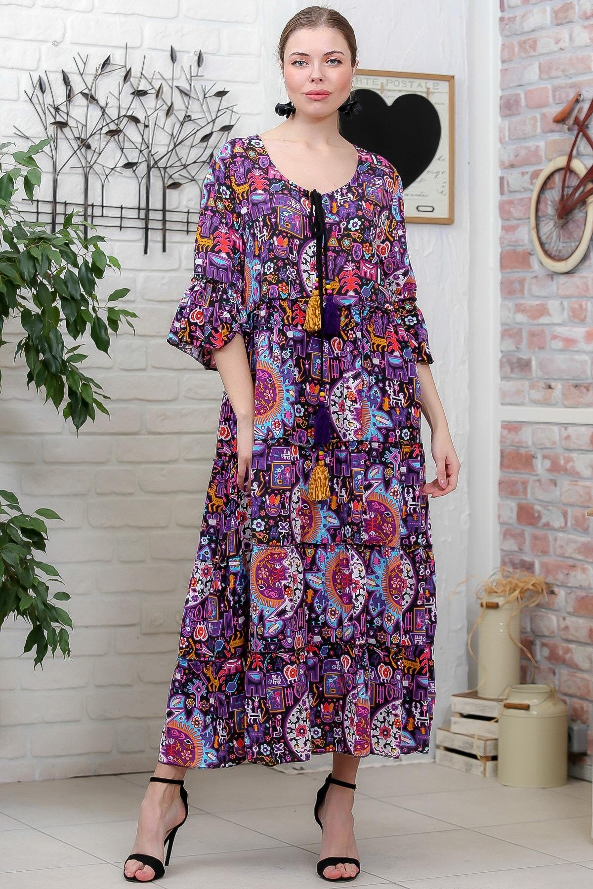 Chiccy Kadın Mor Güneş Desenli Püskül Bağcıklı Kat Kat Salaş Uzun Elbise M10160000EL95630