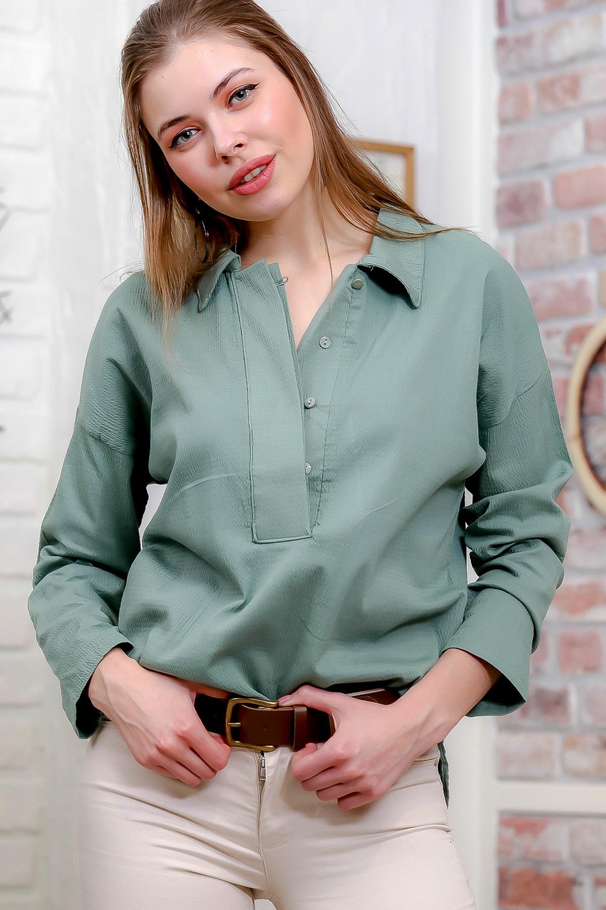 Chiccy Kadın Mint Gömlek Yaka Gizli Pat Detaylı Dokuma Bluz M10010200BL95583