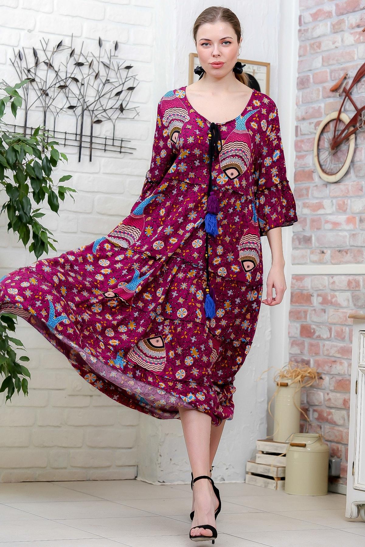 Chiccy Kadın Fuşya Çini Balık Desenli Püskül Bağcıklı Kat Kat Salaş Uzun Elbise M10160000EL95629