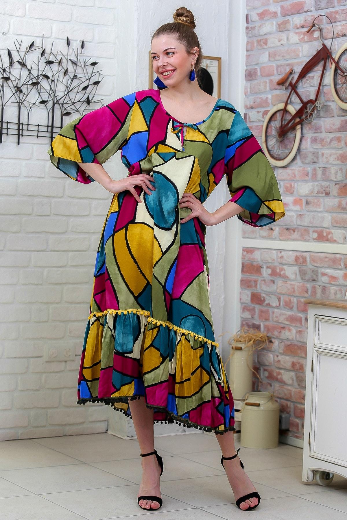 Chiccy Kadın Fuşya-Sarı Kübist Renkler Desenli 3/4 Kol Etek Ucu Ponpon Detay Dokuma Elbise M10160000EL95772