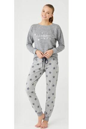 U.S POLO Us Polo 16385 Kışlık Kadın Pijama Takım - Gri