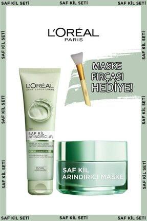 L'Oreal Paris Saf Kil Arındırıcı Jel + Saf Kil Arındırıcı Maske + Maske Fırçası Hediye