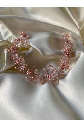 Hedef Bijuteri Özel Tasarım Pembe Kristal Boncuklu Gelin Saç Aksesuarı Ve Gelin Tacı