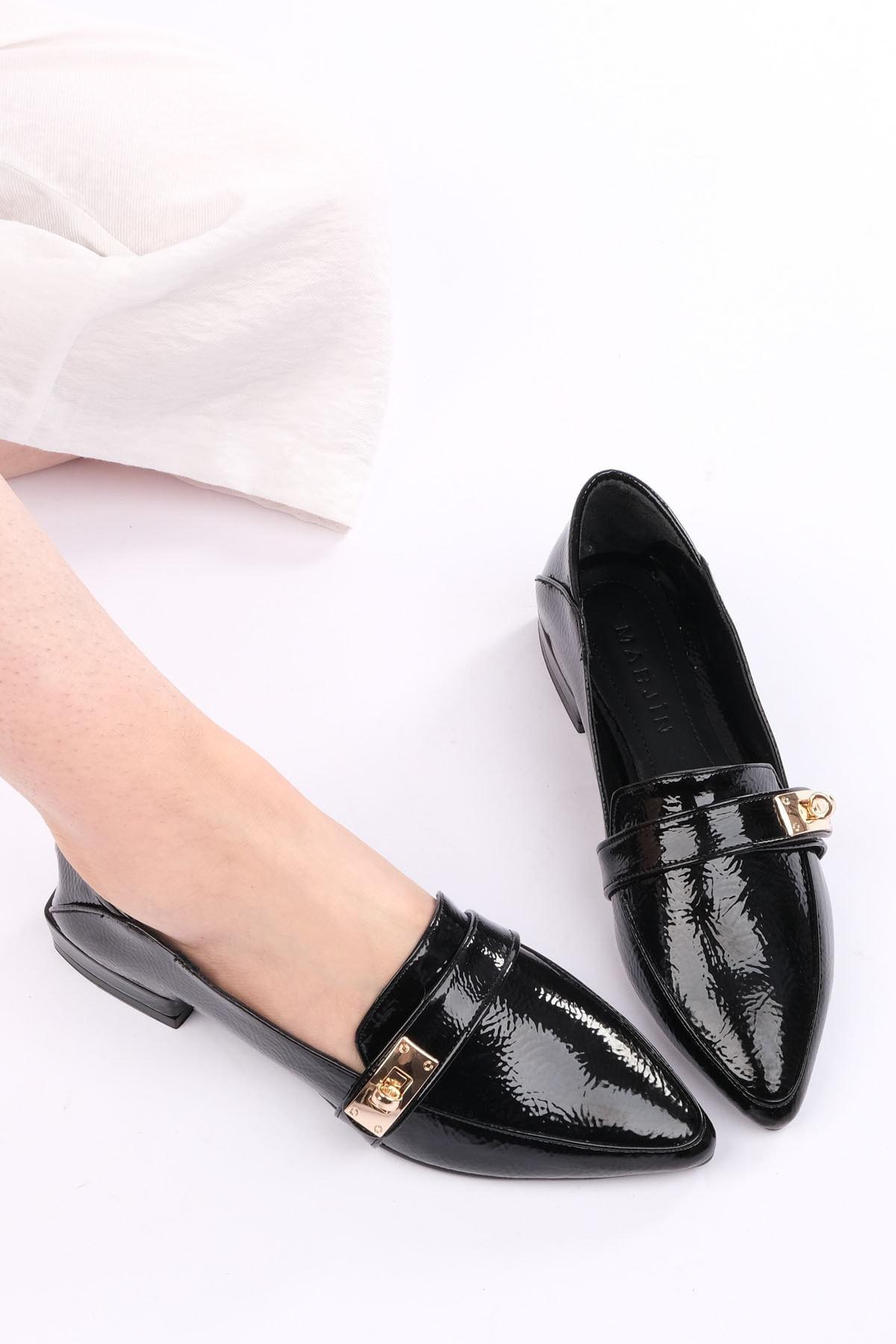 Marjin Kadın Siyah Rugan Loafer Ayakkabı Olvez