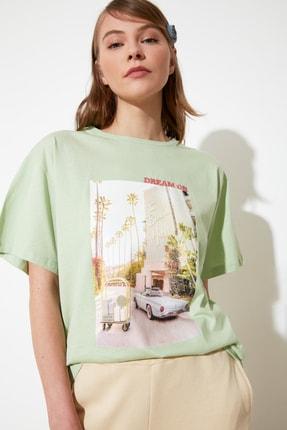 TRENDYOLMİLLA Mint Baskı ve Nakışlı Boyfriend Örme T-Shirt TWOSS20TS0574