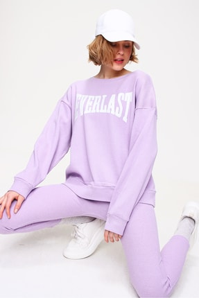 Trend Alaçatı Stili Kadın Lila Sweatshirt Örme Tayt İkili Takım ALC-X5890