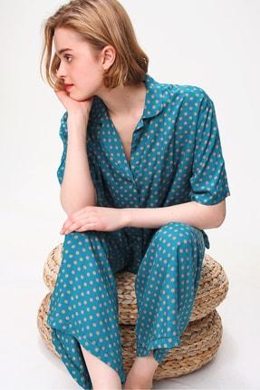 Trend Alaçatı Stili Kadın Petrol Mavi Yakalı Dokuma Pijama Takım ALC-X5895