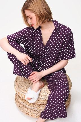 Trend Alaçatı Stili Kadın Mürdüm Yakalı Dokuma Pijama Takım ALC-X5895
