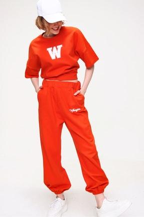 Trend Alaçatı Stili Kadın Turuncu W Baskılı Eşofman Takımı ALC-X5889