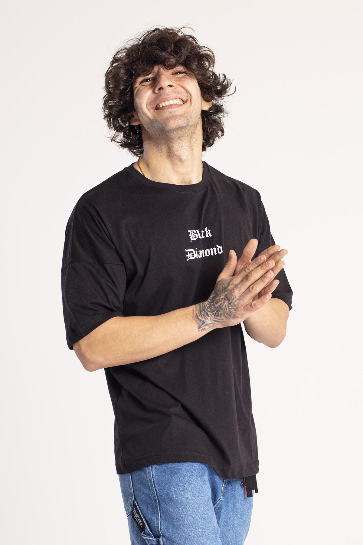 XHAN Siyah Önü & Arkası Baskılı Oversize T-Shirt 1KXE1-44660-02 2