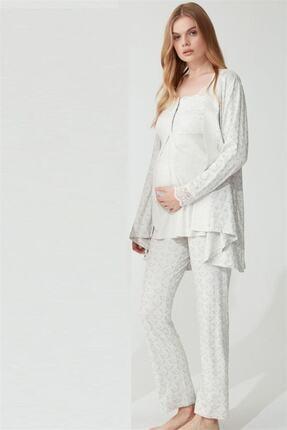 Feyza Kadın Gri Hamile Pijama Takımı 3779