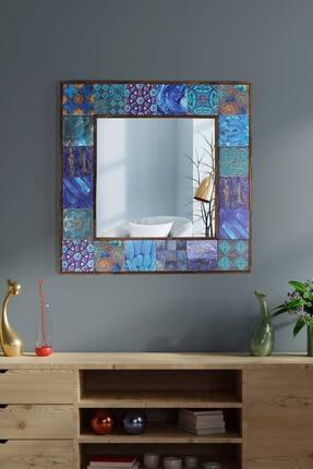 bluecape Amalfi Doğal Ağaç Çerçeveli Antik Limra Taş Kaplı Salon Duvar Konsol Boy Aynası 62x62 Cm