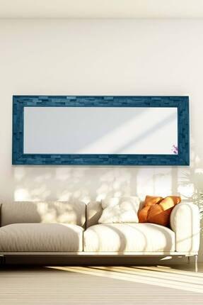 bluecape Doğal Ağaç 58x148 Cm Jenga Mavi Tahta Parçacıklı Salon Ofis Mutfak Duvar Konsol Boy Aynası