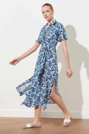TRENDYOLMİLLA Lacivert Kuşaklı Gömlek Elbise TWOSS19EL0094