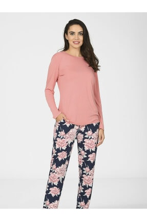 NBB Kadın Lacivert Pembe Sırt Detaylı Viscon Pijama Takımı 67000