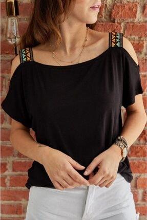 Betüş Butik Kadın Siyah Etnik Desen Çift Omuz Askılı Tshirt