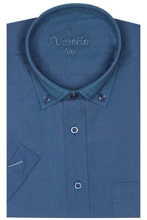 Varetta Erkek Kısa Kol Büyük Yaka Düğmeli Beden Pamuk Saten Gömlek
