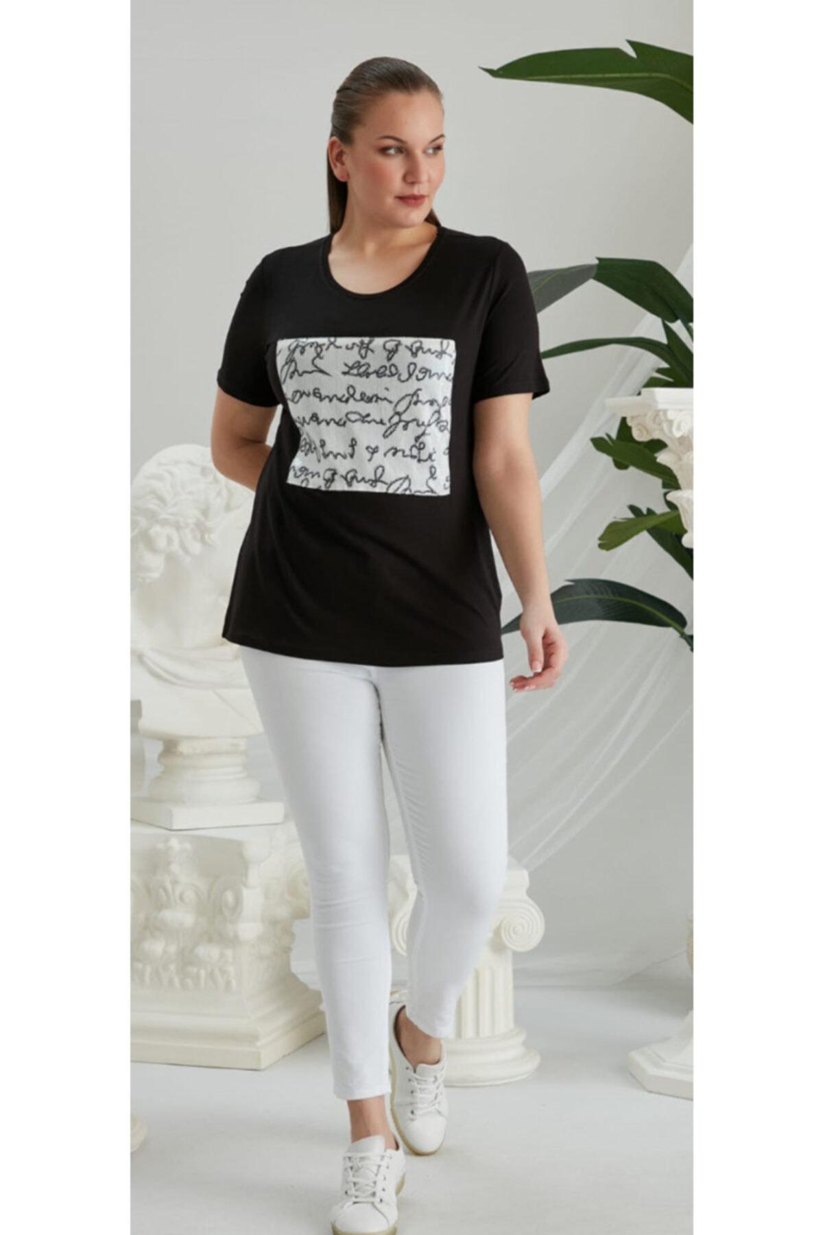 RMG Kadın Beyaz Siyah Büyük Beden T-Shirt 1