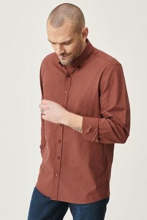 AC&Co / Altınyıldız Classics Erkek Bordo Tailored Slim Fit Dar Kesim Düğmeli Yaka %100 Koton Gömlek