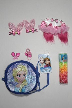 Frozen Çantalı Kız Çocuk 9 Parça Toka Seti