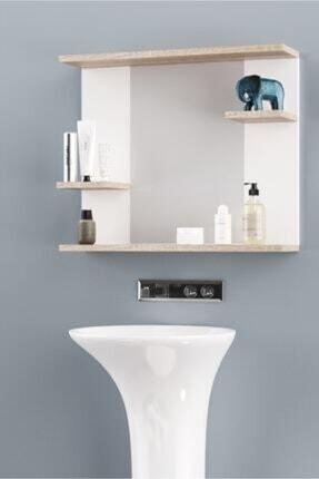 İsabet Aynalı Raflı Safir Banyo Dolabı Lavabo Üstü Aynalı Safir