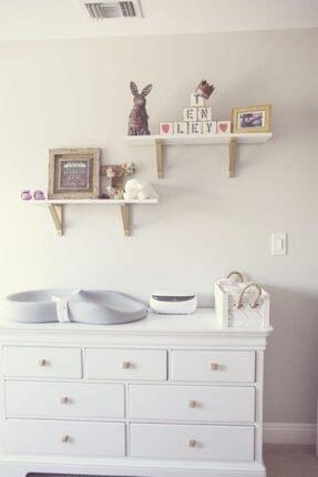 ARENHOME Mdf Ahşap Ayaklı Bebek Çocuk Odası Banyo Mutfak Duvar Rafı Kitaplık Eğitici Montessori 2li Raf