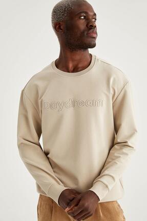 DeFacto Oversize Fit Bisiklet Yaka Yazı Nakışlı Sweatshirt
