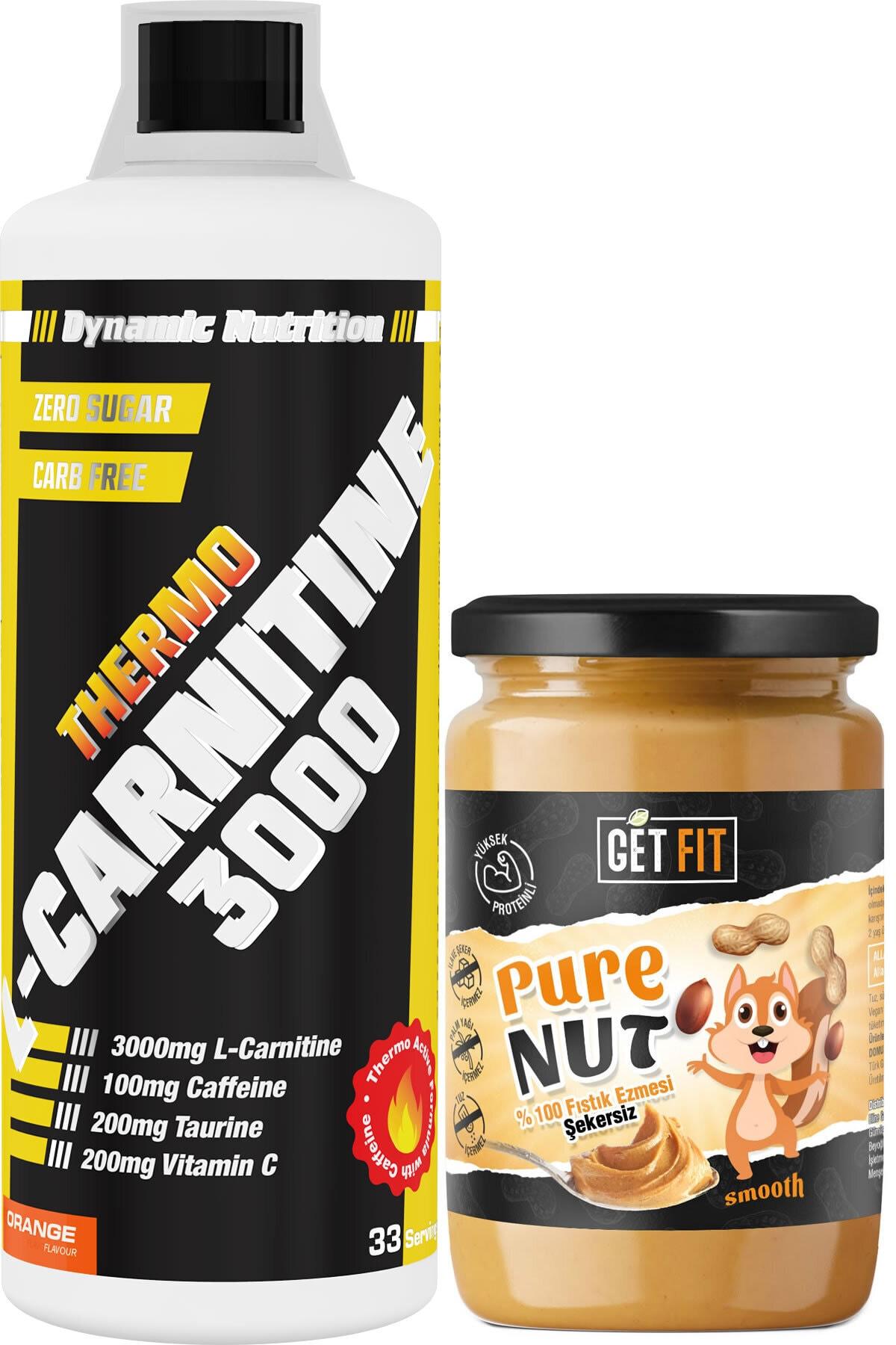 Dynamic Nutrition Dynamic Thermo L-carnitine 3000 Mg 1000 ml + Şekersiz Getfit Purenut Doğal Fıstık Ezmesi 600 gr 1
