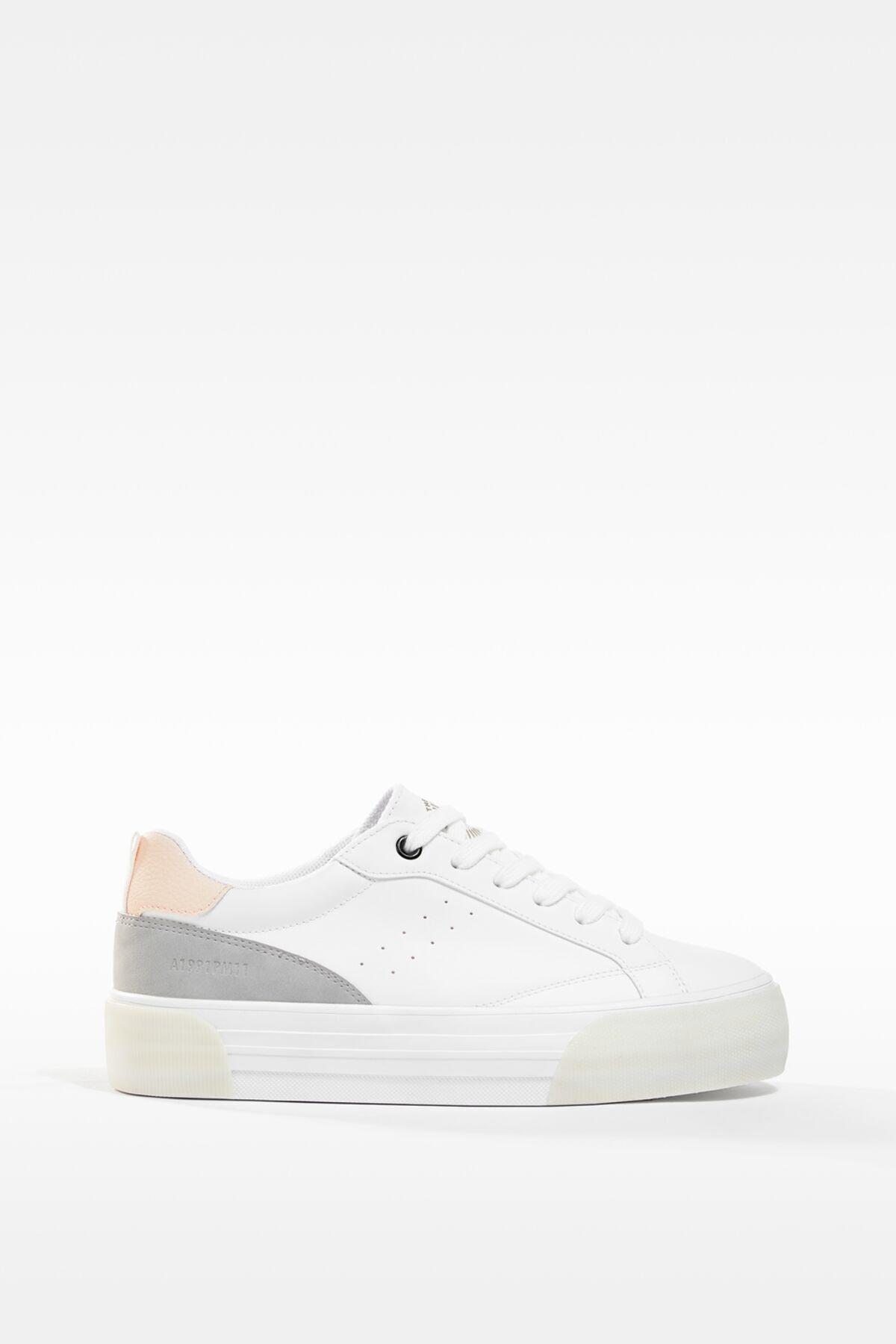 Bershka Kadın Beyaz Kontrast Platform Spor Ayakkabı 2