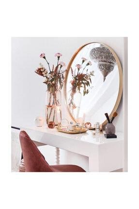 SPECCHIO Nehir 60 Cm'lik Altın Rengi Yuvarlak Ayna,dekoratif Ayna
