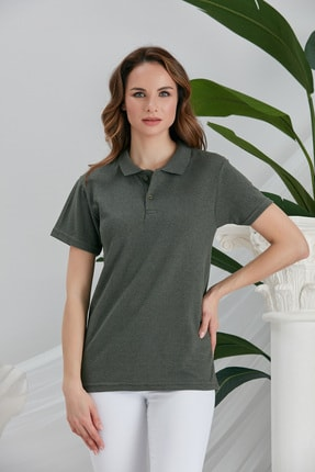 seise Kadın Haki Polo Yaka Kısa Kollu Tshirt