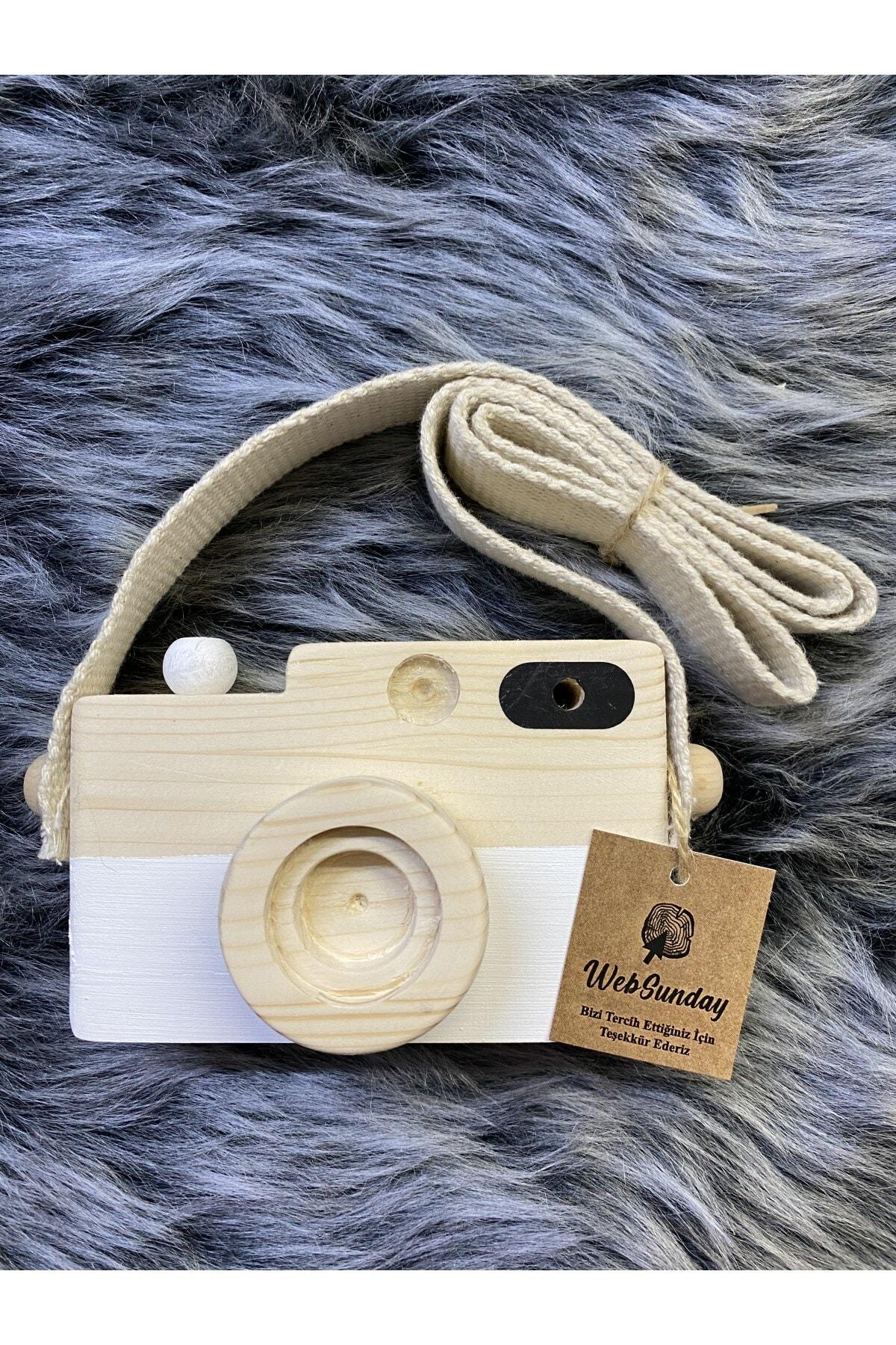 aswood Ahşap Dekoratif Oyuncak Fotoğraf Makinesi - Beyaz 1