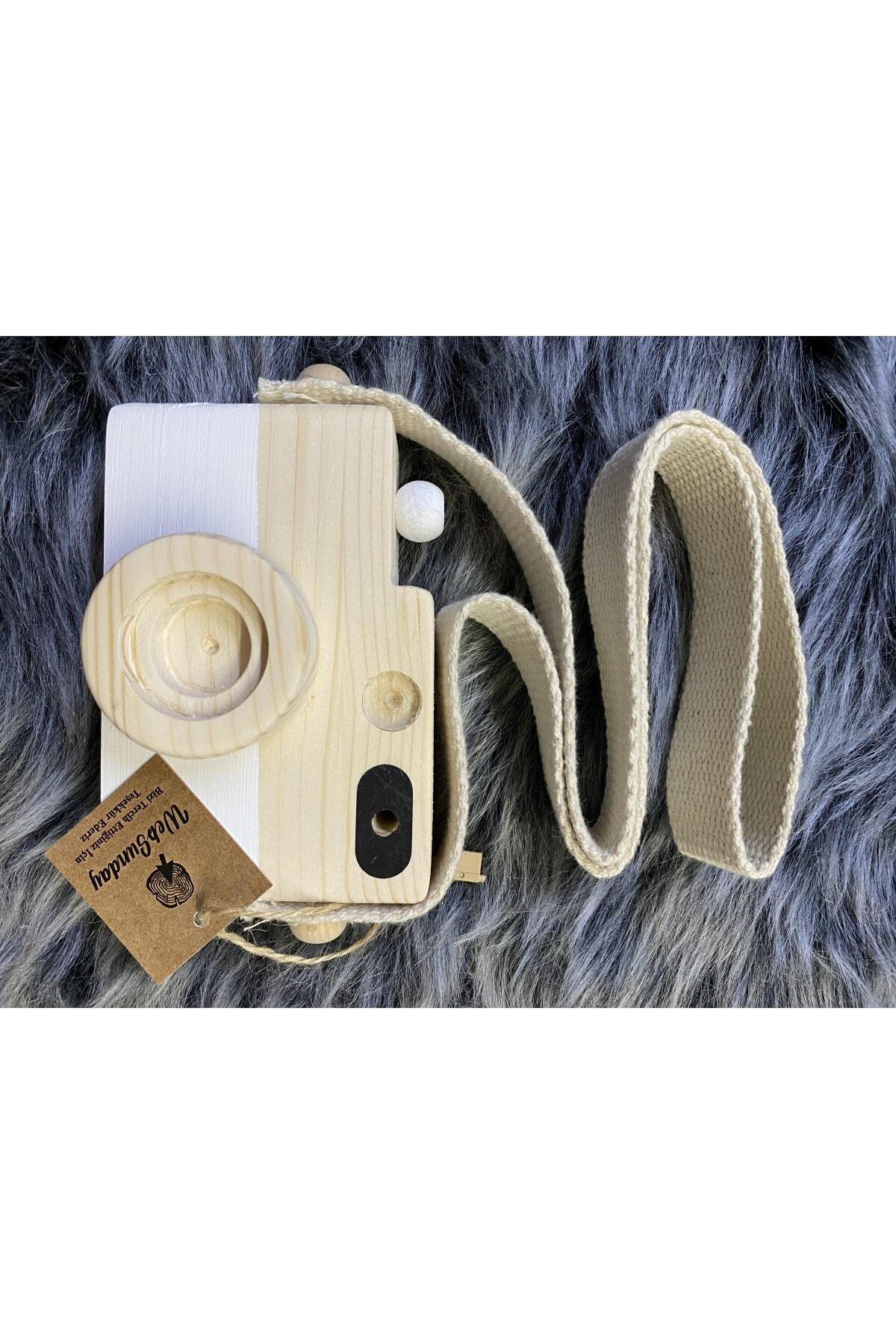 aswood Ahşap Dekoratif Oyuncak Fotoğraf Makinesi - Beyaz 2