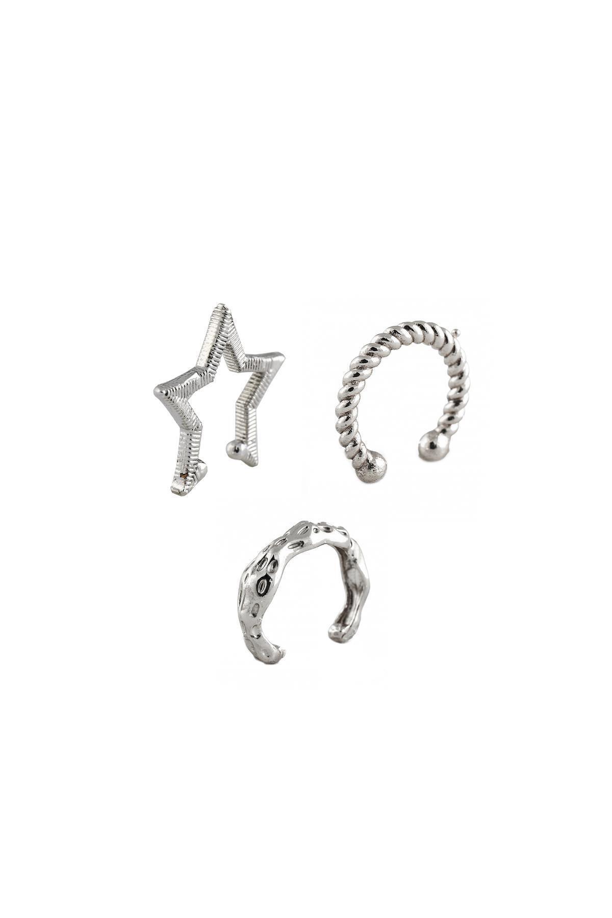 New Obsessions Kadın Gümüş Renk Starry Kıkırdak Küpe Seti 1