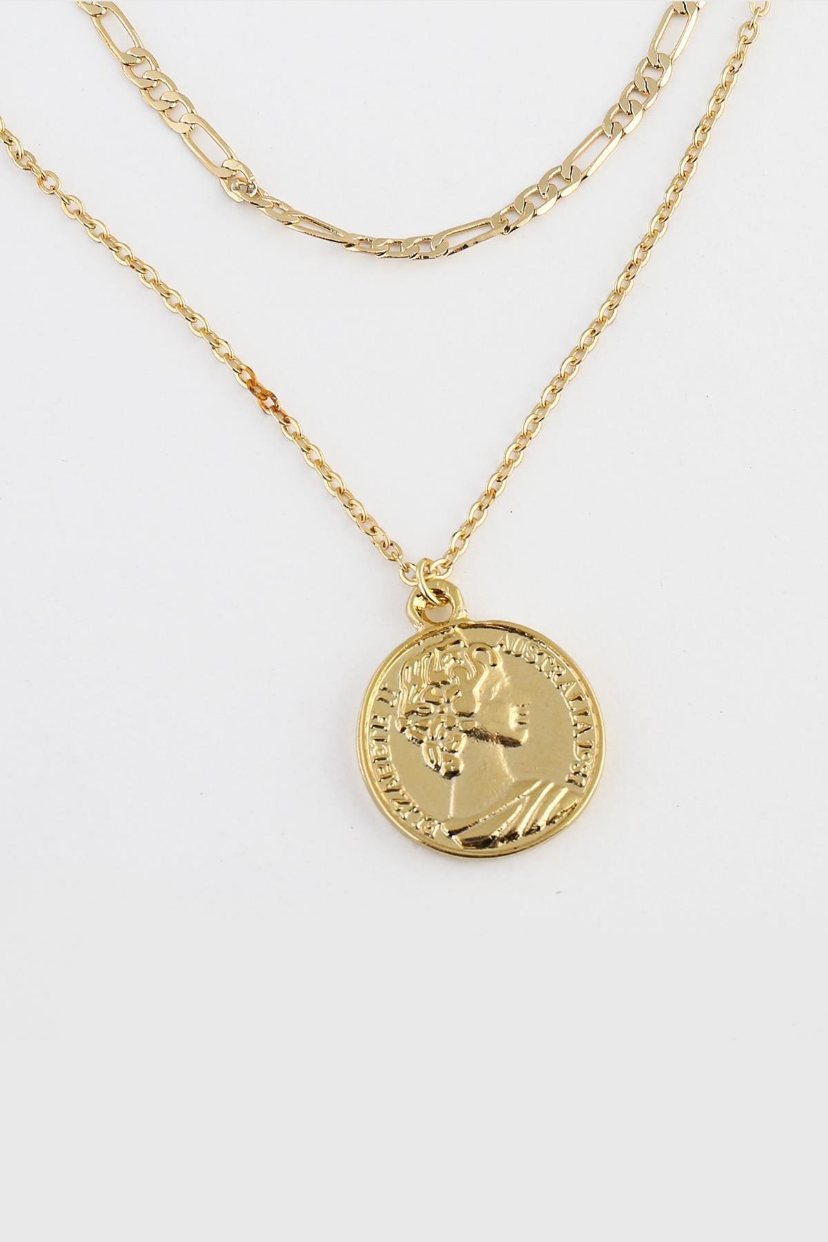 New Obsessions Kadın Altın 3 Sıralı Madalyon Uçlu Kolye Seti 2