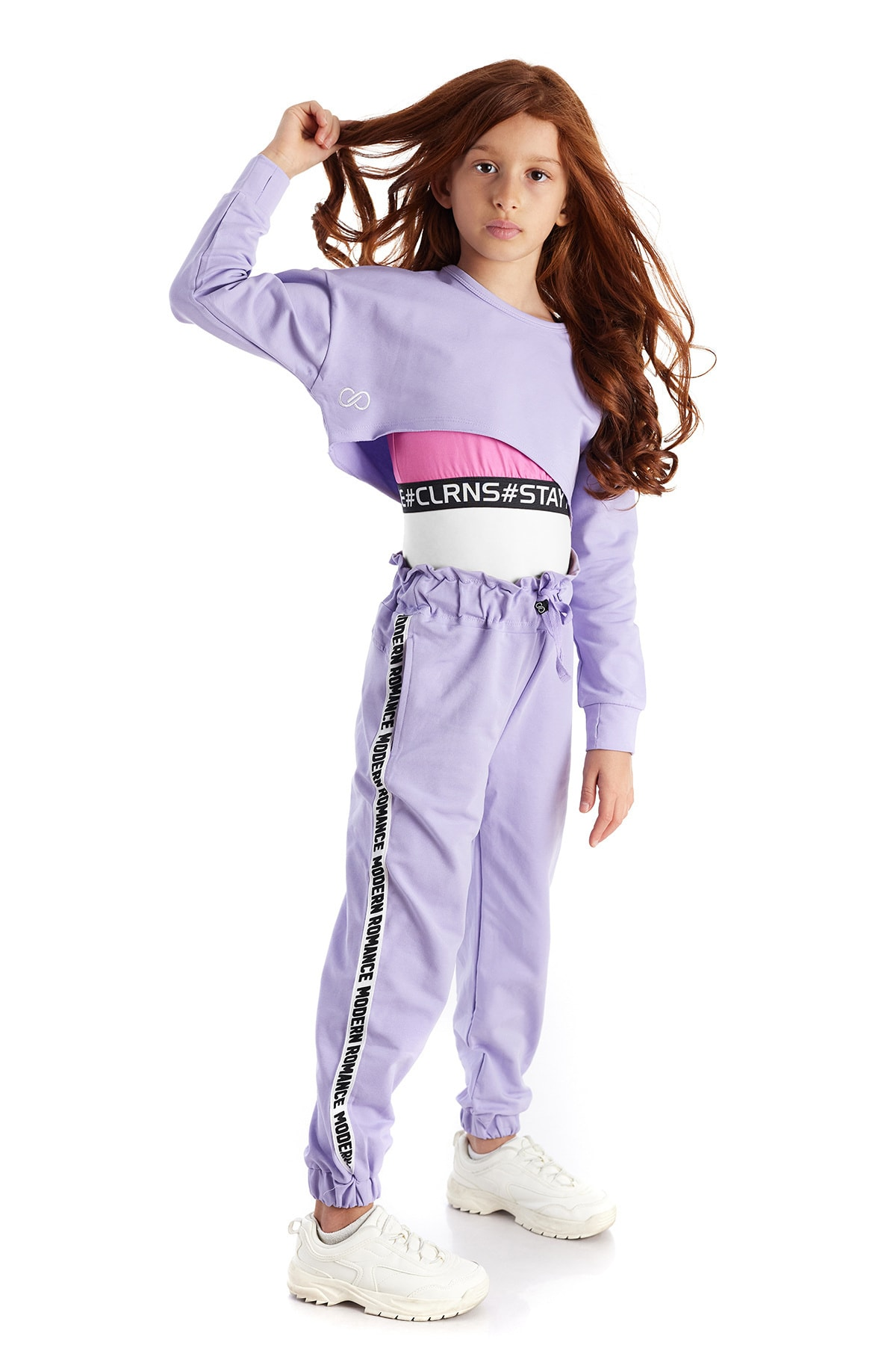 Colorinas Modern Romance Şeritli Pantolon Lila 1