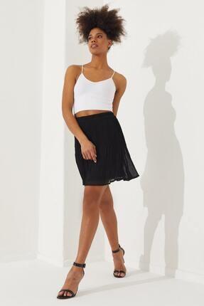 Reyon Kadın Siyah Pliseli Mini Etek  70510001E3A