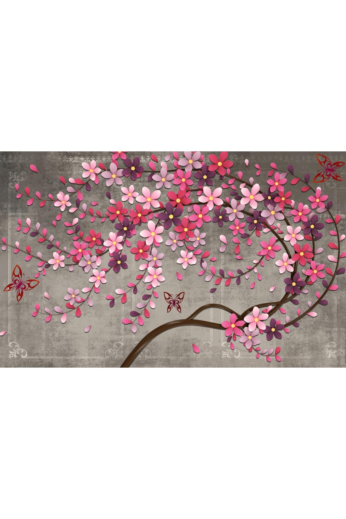 Zeta Aks Mor Çiçekli Ağaç Tek Parça Cotton Canvas Tablo 2