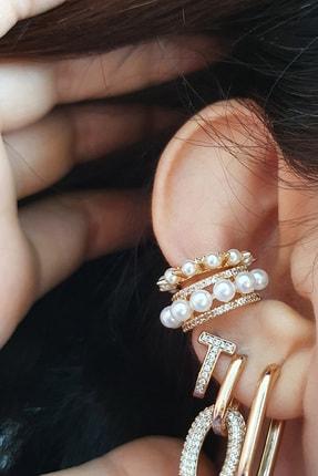BUNNY Incili 2li Monaco Set Kıkırdak Küpe ( Altın Kaplama ) ( Small Size Ear Cuff )