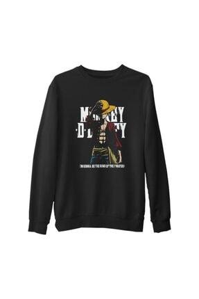 Lord T-Shirt Erkek Siyah One Piece - King Of Pirates Kalın Sweatshirt