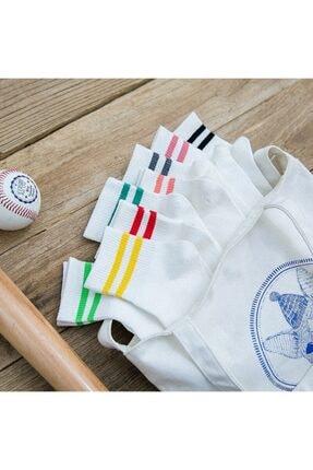 BGK Unisex Beyaz Koton Ekonomik Desenli Tenis Çorap  8 Çift